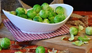raw brussels sprouts in a dish