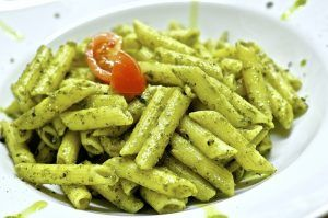 Whole Wheat Penne with Pistachio Pesto and Cherry Tomatoes