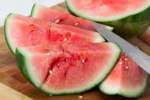 slices of watermelon on a cutting board
