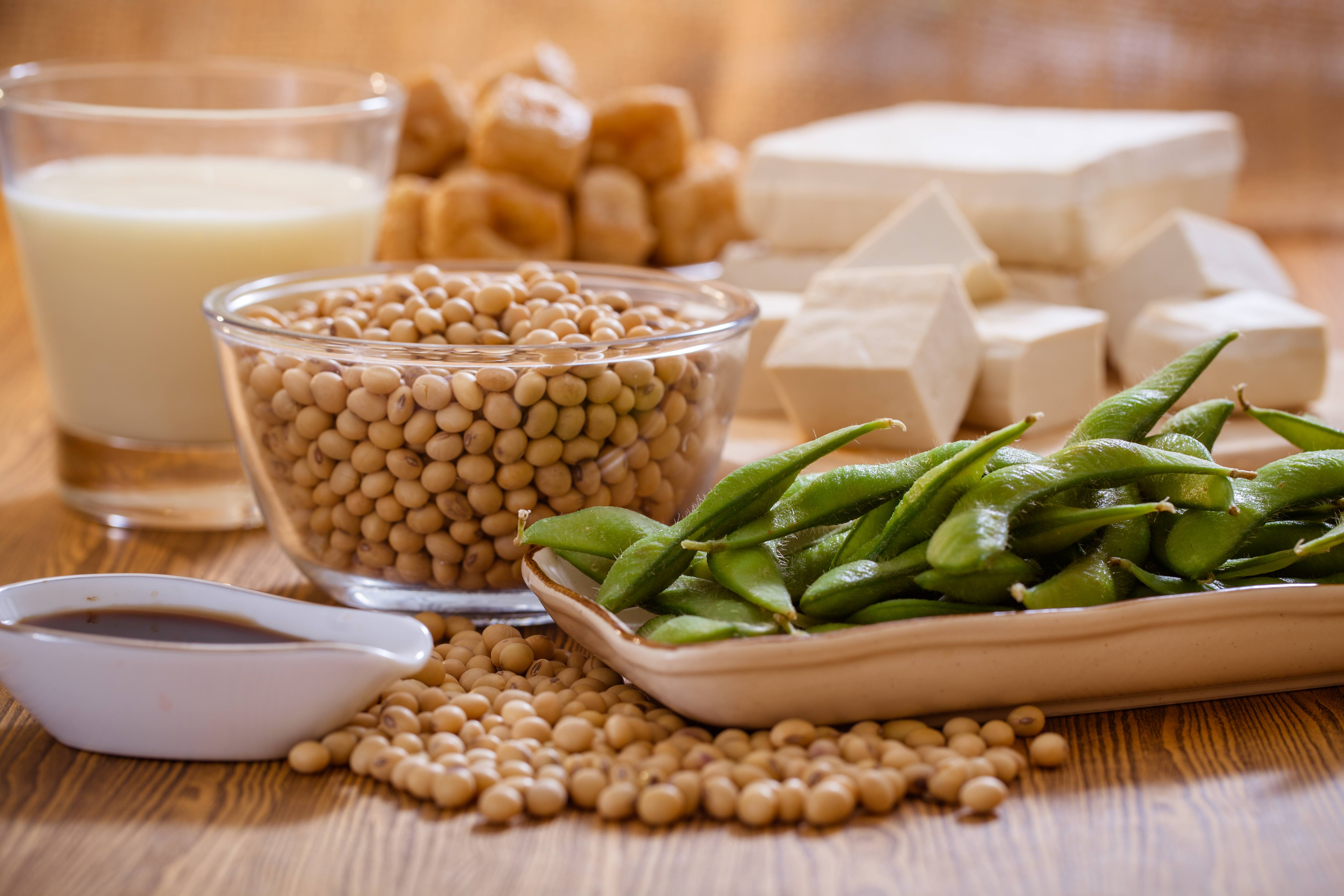 a variety of soy foods, including: soybeans, edamame, soy sauce, tofu, tempeh, soy milk