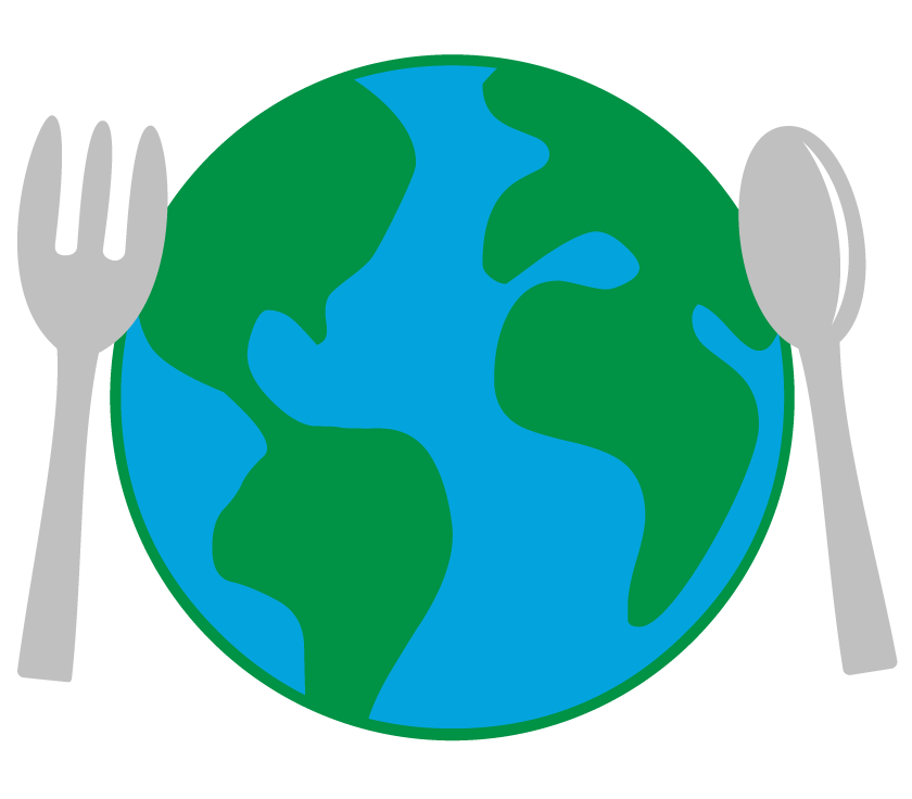 Icon of a globe with a fork and spoon on the sides; representing eating sustainably for the planet's health