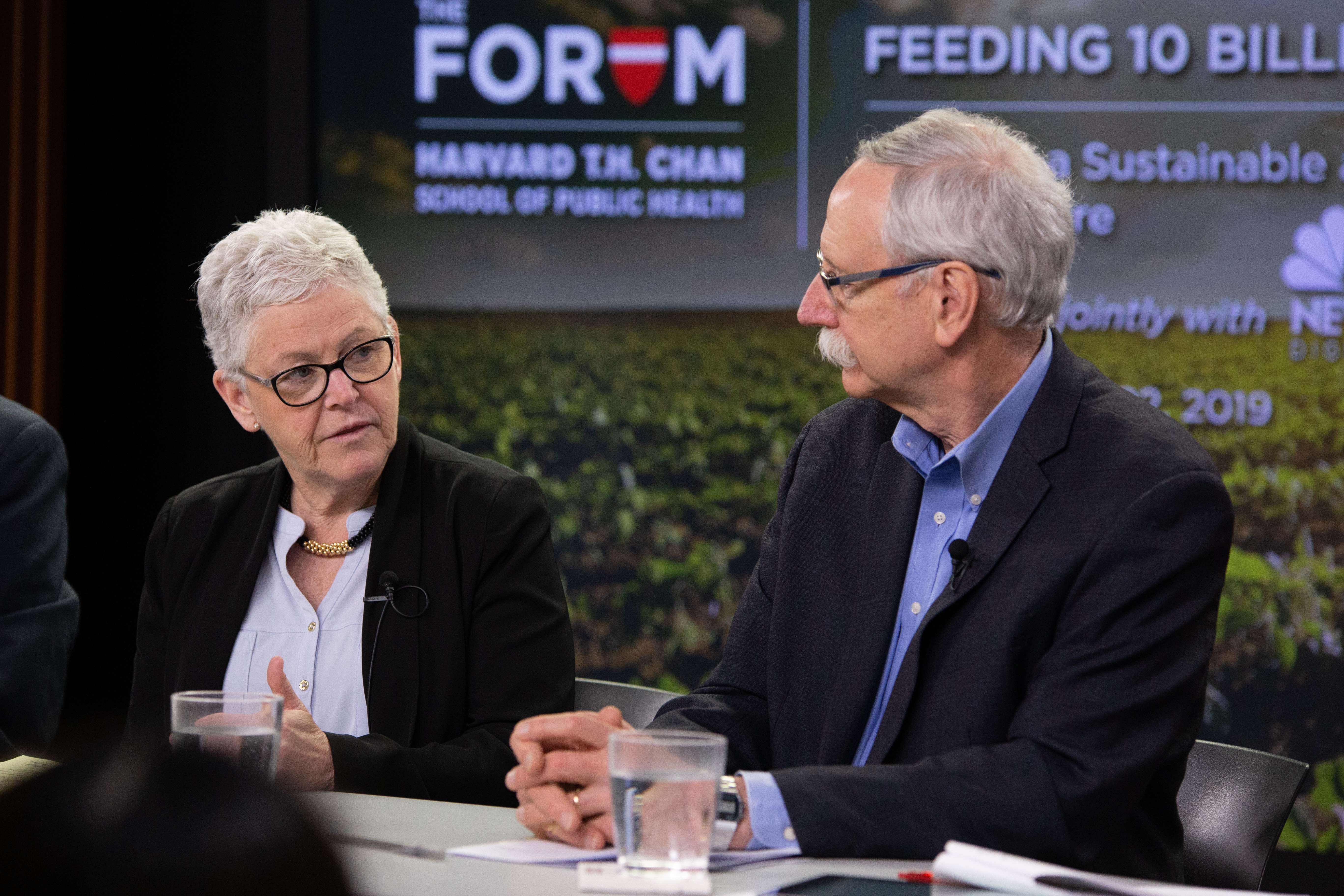 Gina McCarthy, 13th Administrator of the EPA; Professor of the Practice of Public Health in the Department of Environmental Health at Harvard T.H. Chan School of Public Health and Director of the Center for Climate, Health, and the Global Environment; Walter Willett, Professor of Epidemiology and Nutrition, Harvard T.H. Chan School of Public Health