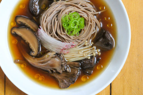 A bowl of Wild Mushroom Soup with Soba
