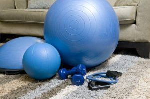 home exercise equipment including weights, resistance bands, medicine balls