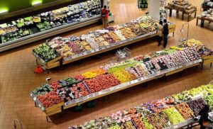 supermarket aisles full of produce and people shopping