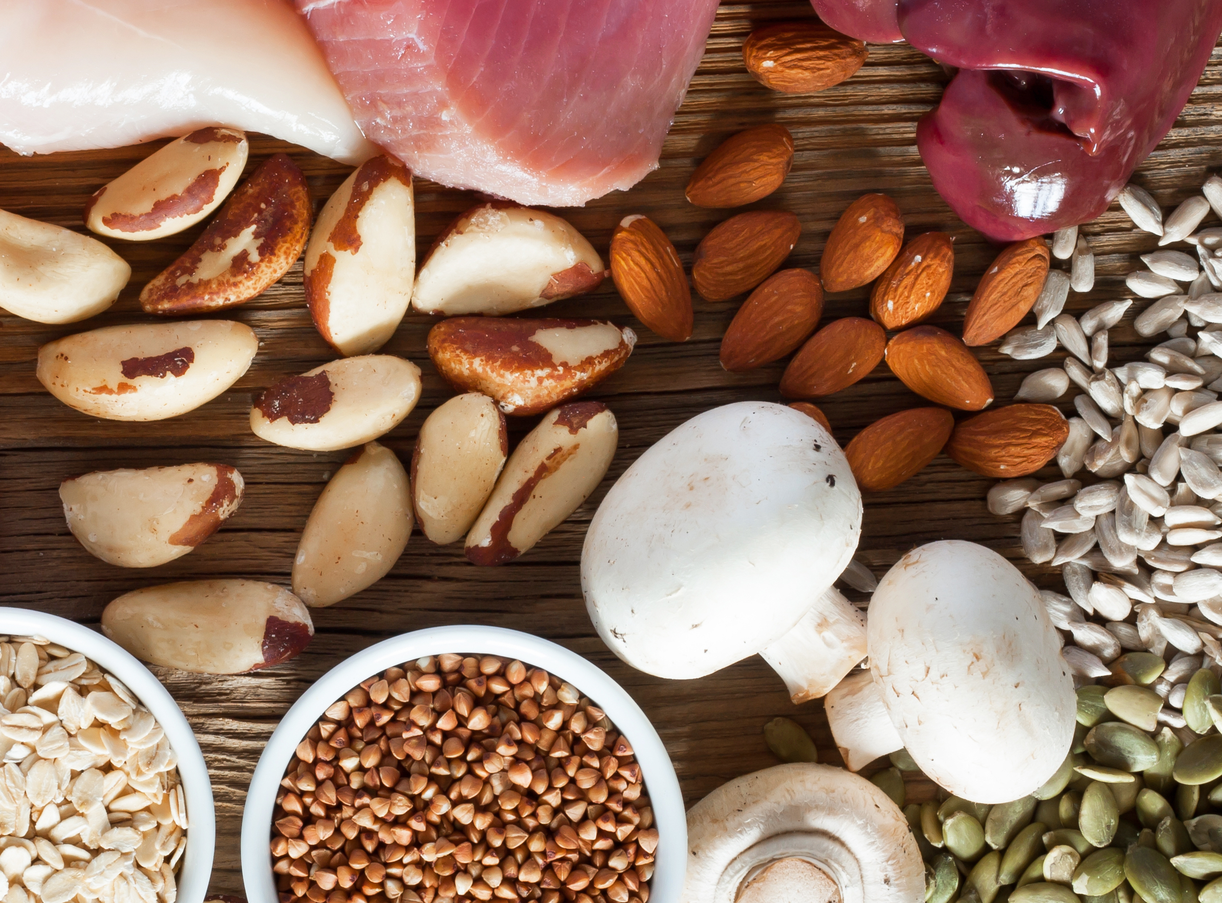 Foods high in vitamin b12 or pantothenic acid, including mushrooms, nuts (such as almonds, brazil nuts) pumpkin seeds, sunflower seeds, liver, poultry, fortified grains