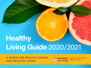 "Image of cut citrus fruit on a blue background with the text ""Healthy Living Guide 2020/2021: a digest on healthy eating and healthy living"""