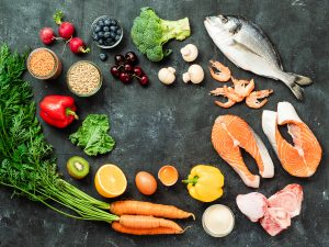 Foods containing collagen or foods that help with collagen production including fish, shellfish, meat, oranges, kiwis, bell peppers, eggs, whole grains,