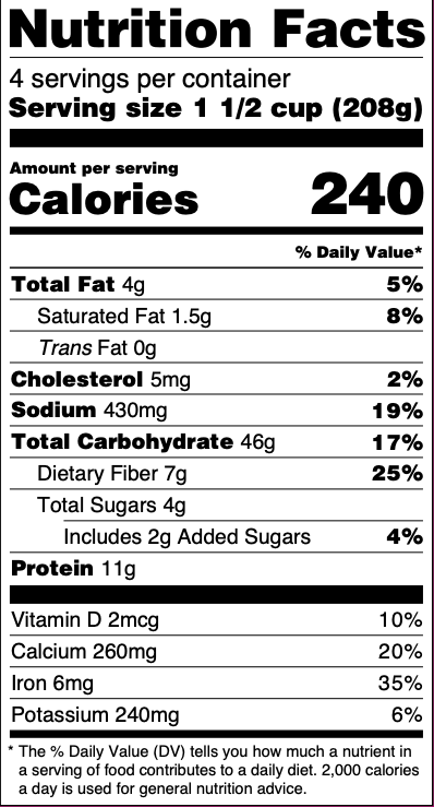 U.S. Nutrition Facts Panel