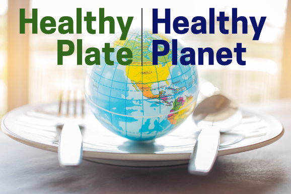a globe on a plate indicating healthy plate healthy planet