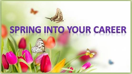 Flowers/Butterfly with caption Spring into your career