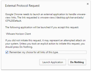 """Click """"Launch Application"""" in the External Protocol Request window"""