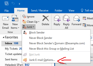 Select Junk E-mail Options