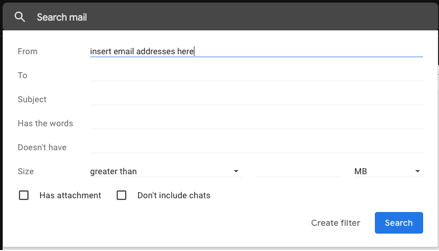 "In the ""From"" field enter the email addresses you want to block and click ""Create filter"""