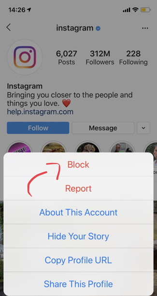 "In the menu that pops up select ""Block"" to block that account"