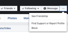 "On someone's profile, click the ""..."" on the right and open the drop down menu to select the ""block"" option"
