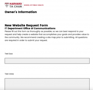 A screenshot of the previous HSPH Qualtrics template, showing old branding