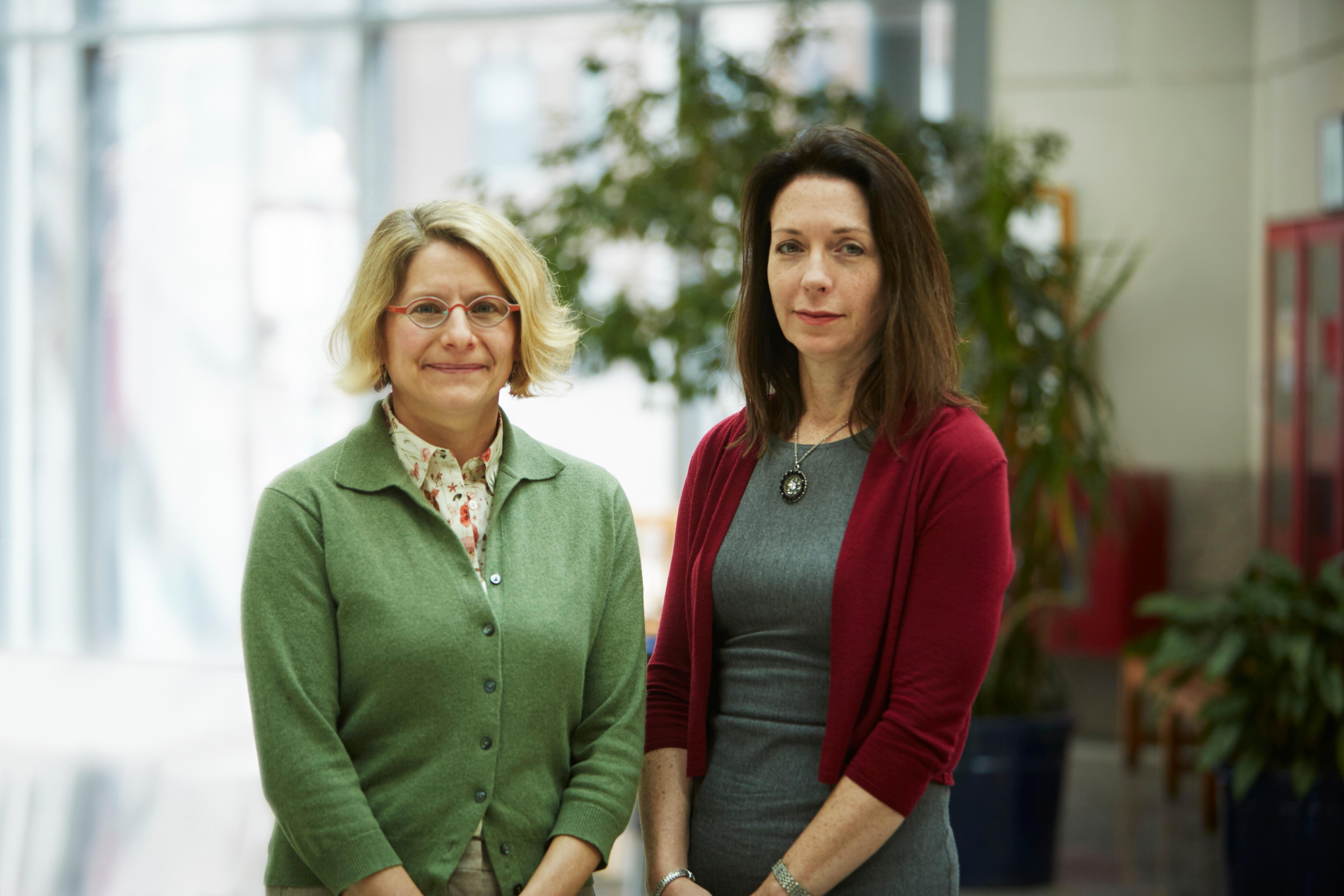 Andrea Roberts, research associate in the Department of Social and Behavioral Sciences (left) and Karestan Chase Koenen, professor of psychiatric epidemiology in the Department of Epidemiology.