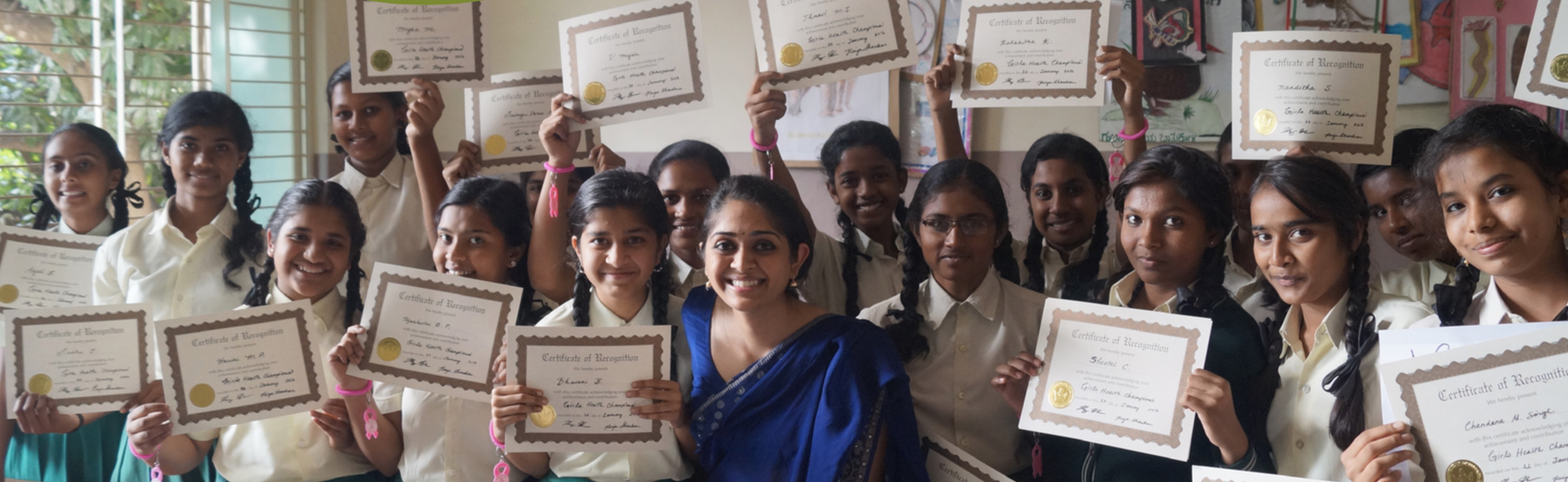 Priya Shankar, center, with the inaugural class of Girls Health Champions. Photo: Priya Shankar