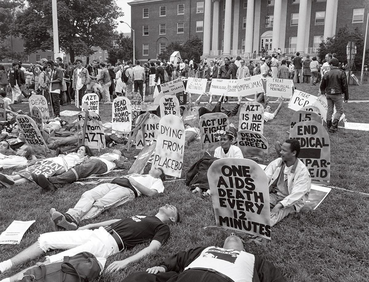 Image: 1990 demonstration on the NIH campus by ACT UP