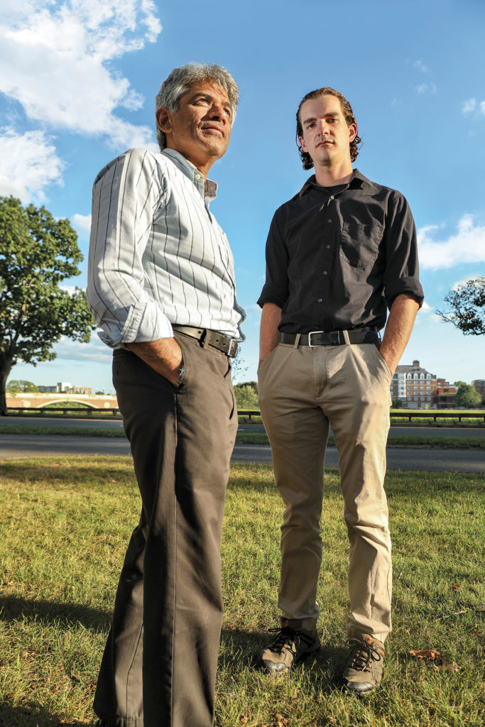 SV Subramanian, professor of population health and geography (left), and Jack Cordes, SM '19, innovatively mapped the opioid epidemic by congressional district in the United States—sparking conversations and renewed concern among elected officials.