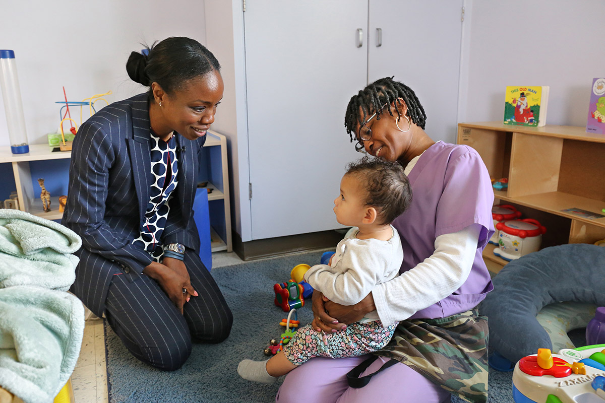 During an April 2019 listening tour, Nadine Burke Harris visits the Locke Early Childhood Education Center, in Los Angeles.