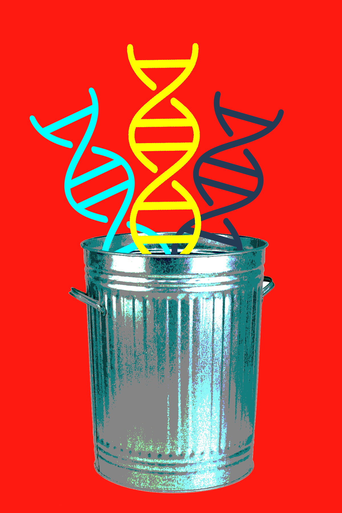 Graphic of DNA in a trash can
