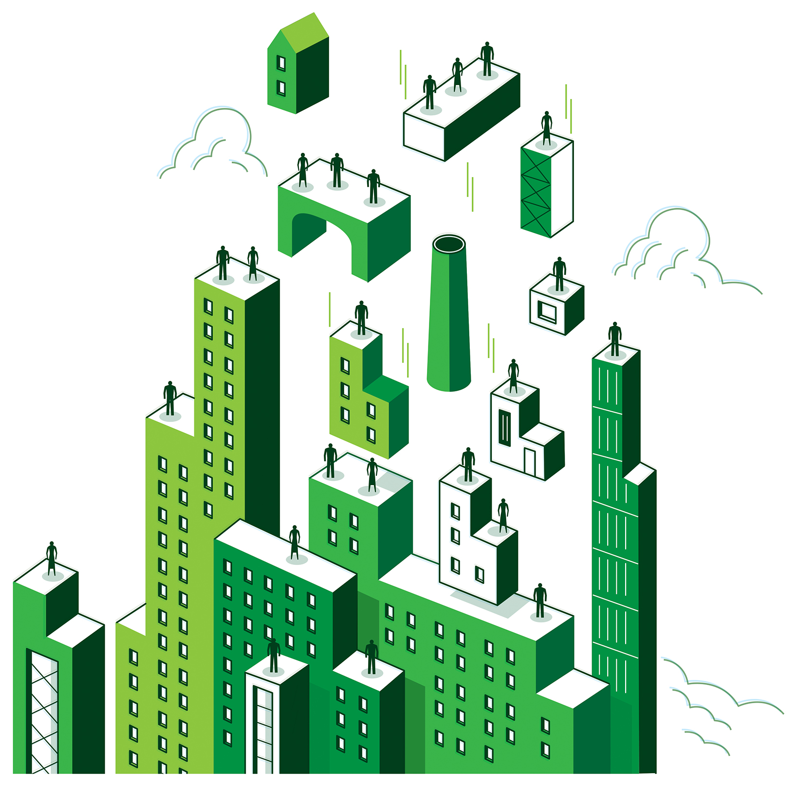 Drawing of tall green buildings
