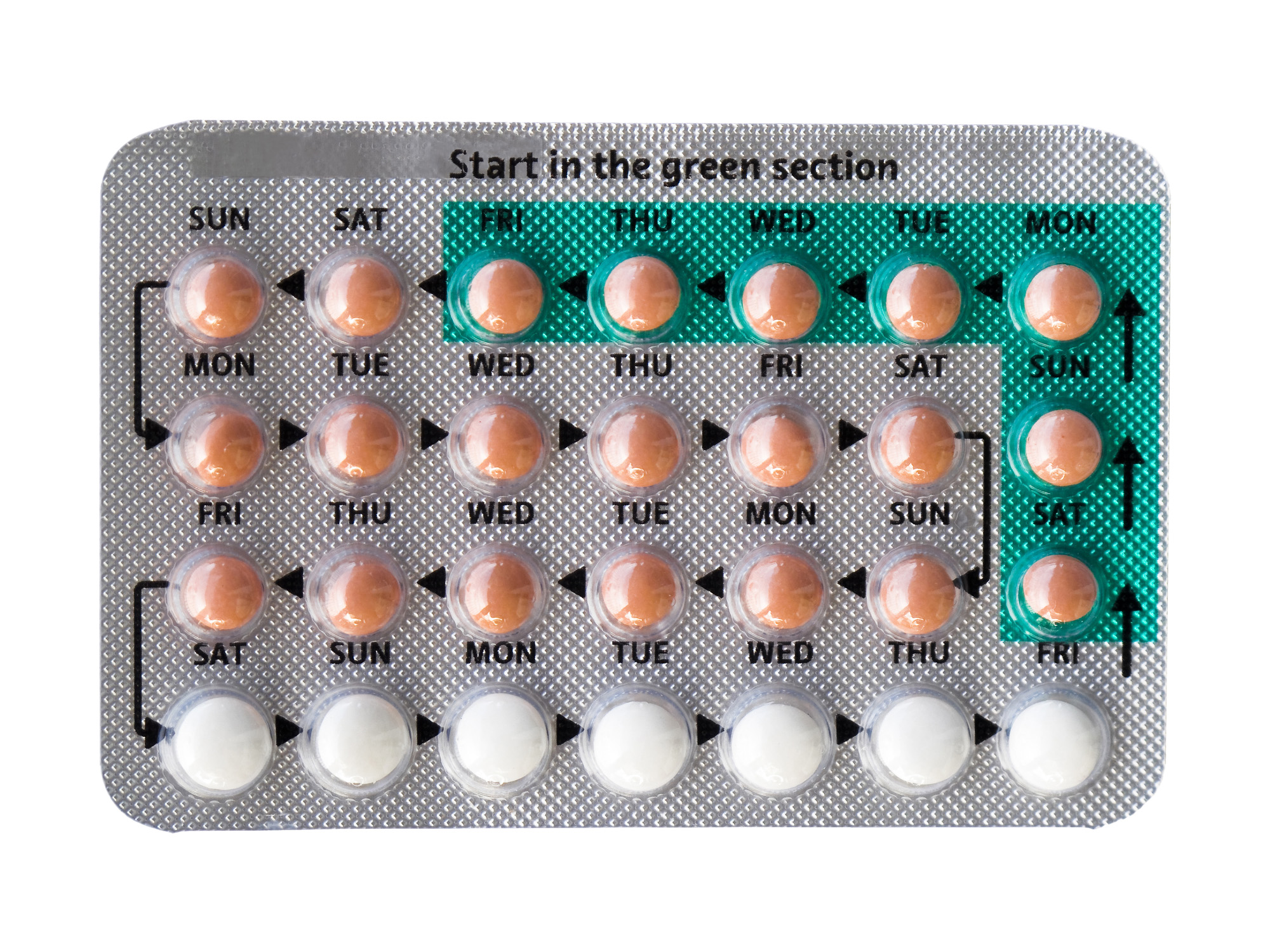 The contraceptive pill, isolated on white.
