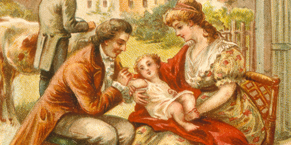 Illustration of baby receiving vaccination