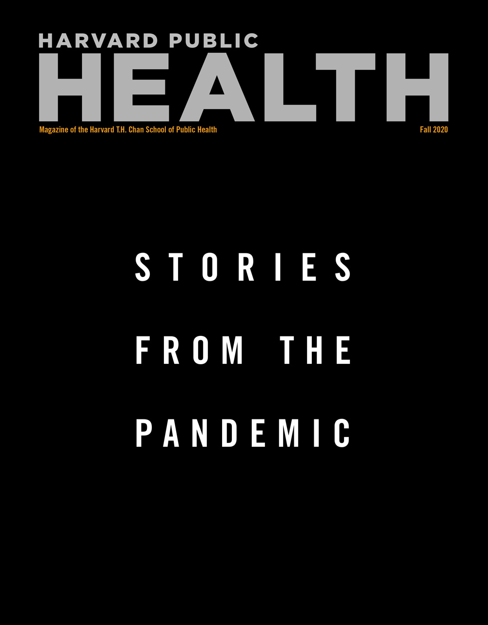 "Cover for Fall 2020, reads ""Stories from the Pandemic"""