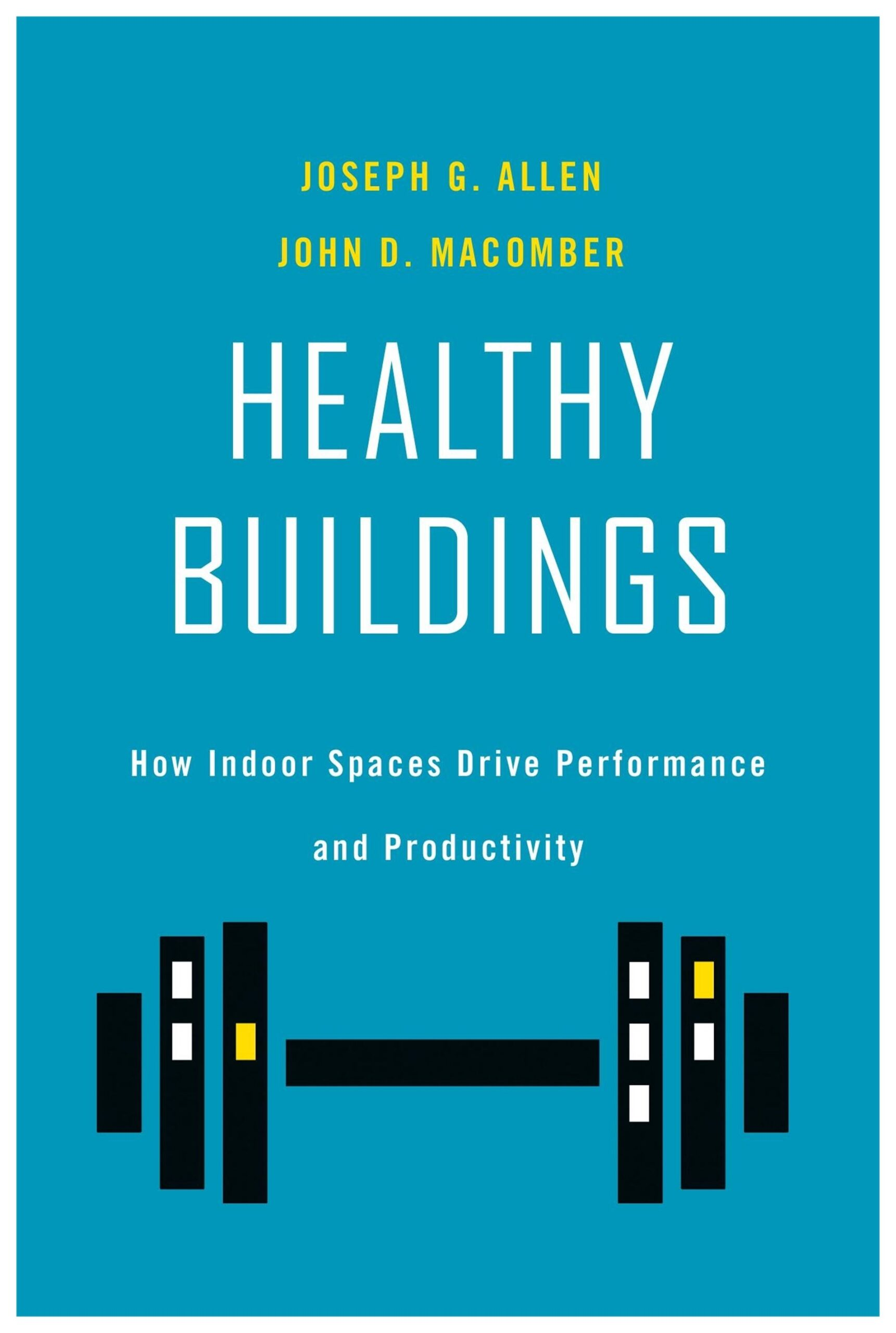 Book cover, dumb bells abstractly resemble buildings