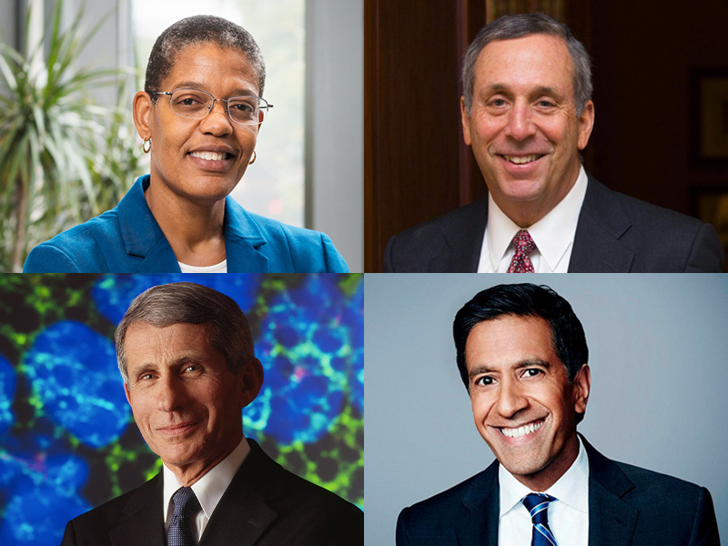 Michelle Williams, Larry Bacow, Sanjay Gupta, and Anthony Fauci