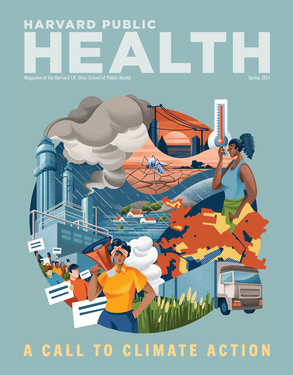 Dusty teal colored background with Colored-pencil digital illustration showing flooding, wind, rain, children eating at a dining table, a female exercising using an inhaler, electric cars, census tract data and charts, coal and wind energy. Headline reads: A Call to Climate Action