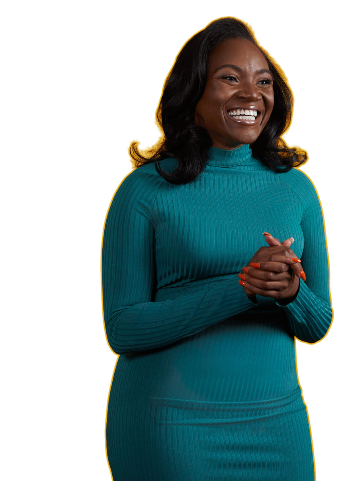 Kizzmekia Corbett wearing a longsleeve, teal turtleneck dress, smiles and looks off camera with her hands clasped.