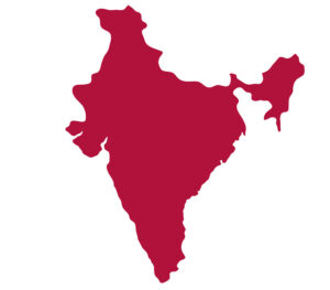Country of India icon, filled in deep red