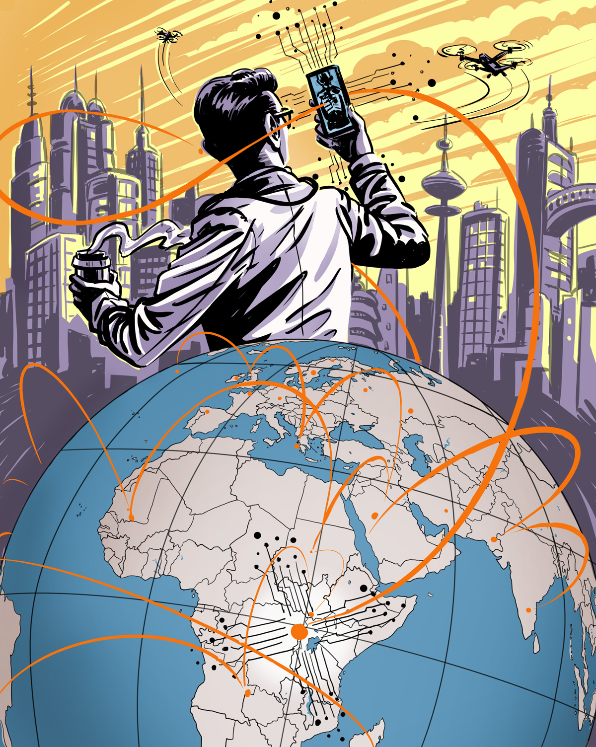 Comic book style illustration with globe in forground, modern urban city in background. Orange lines spring from dots around the globe and into the air. A mecial professional stands behind the globe, back turned, holding a coffee in one hand, looking at a phone in the other at unspecified health information. Drones and helicopters fly in the sky. City is drawn in light purple, sky is orange and yellow.