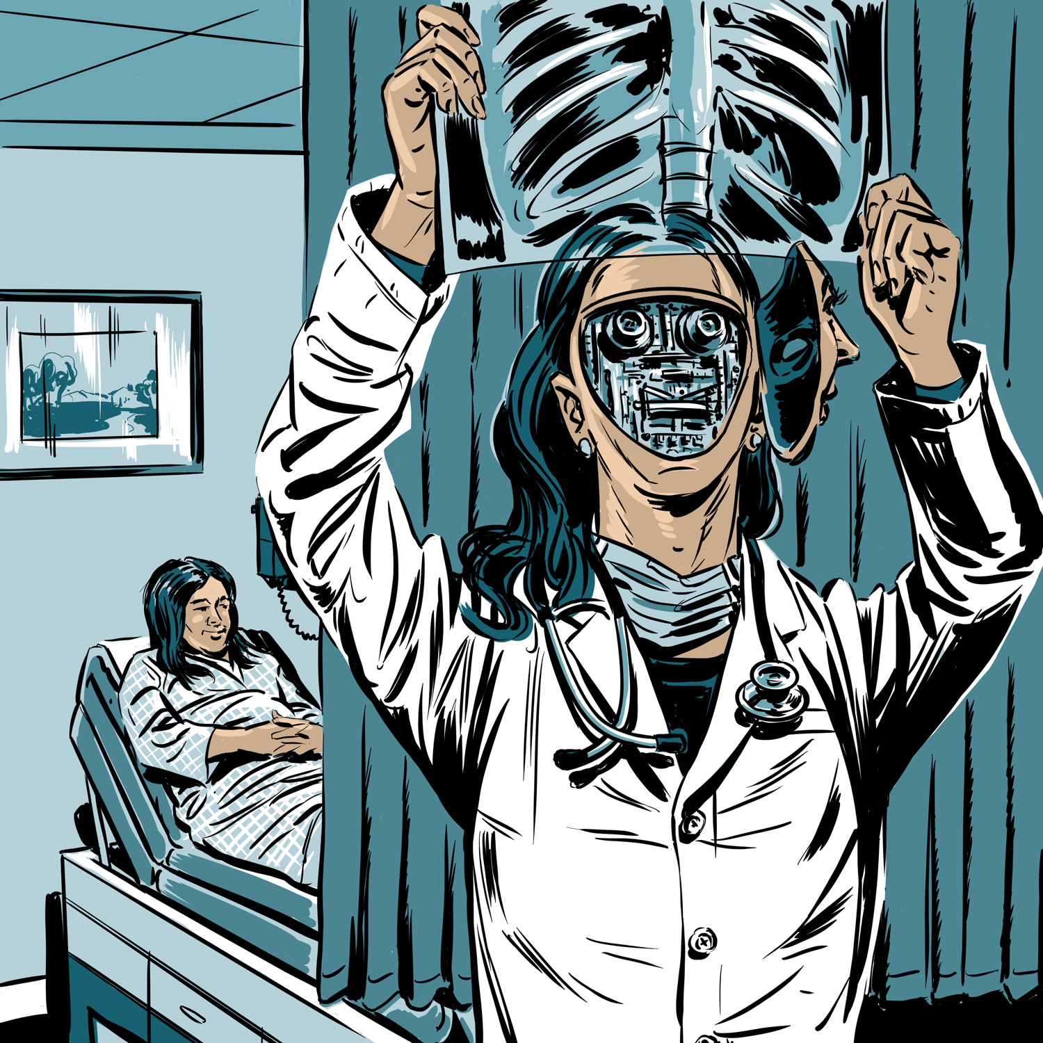A female doctor looks at an X-Ray. Her face is opened to reveal that she is a robot. A patient lies in a hosptail bed in the background. Colors are shades of teal blue, black and white.