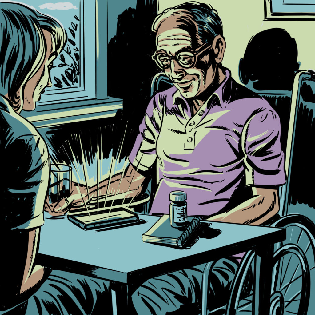 Eldery man in a wheelchair sits at table looking at a glowing tablet with a notebook and bottle of pills on the other side. A female figure sits across from him. Illustration is shades of teal, lime green and light purple.