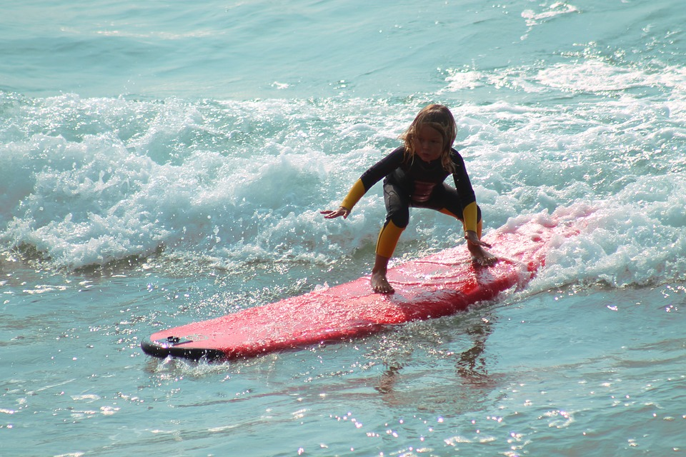 Surfing at the beach