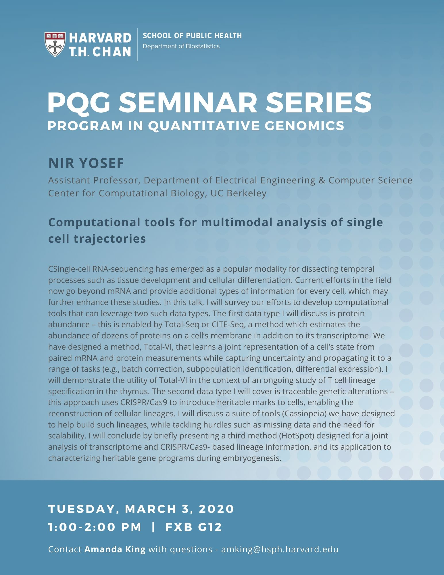 PQG Seminar with Nir Yosef