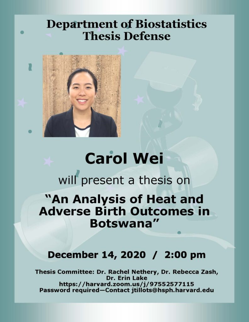 Carol Wei Thesis Flyer