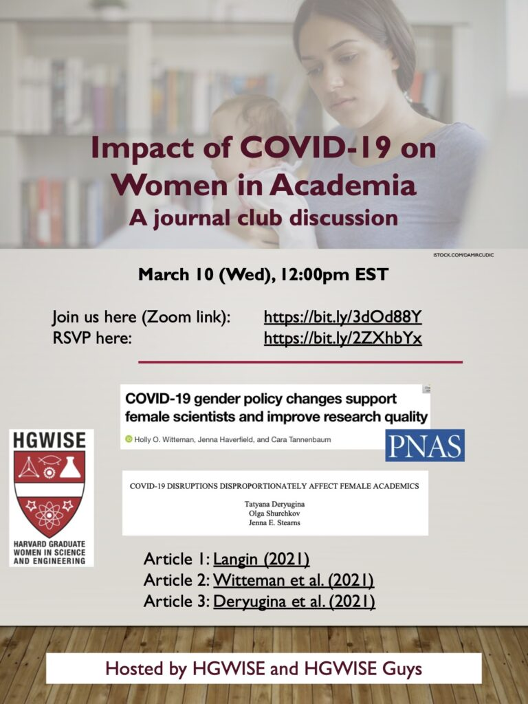 Impact of Covid on Women in Academia journal club discussion