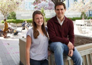Corey Peak and Kelsey Gleason, HSPH students, in the HSPH Quad