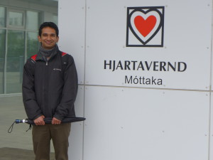 Gautam Sajeev Stands Outside the Icelandic Heart Research Center for his fellowship