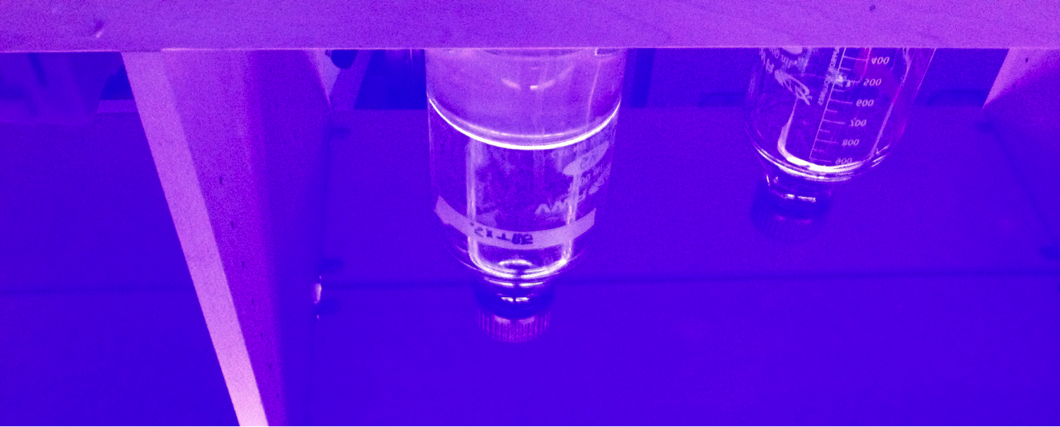 Bottles of buffer reflected in a transilluminator on the bench below