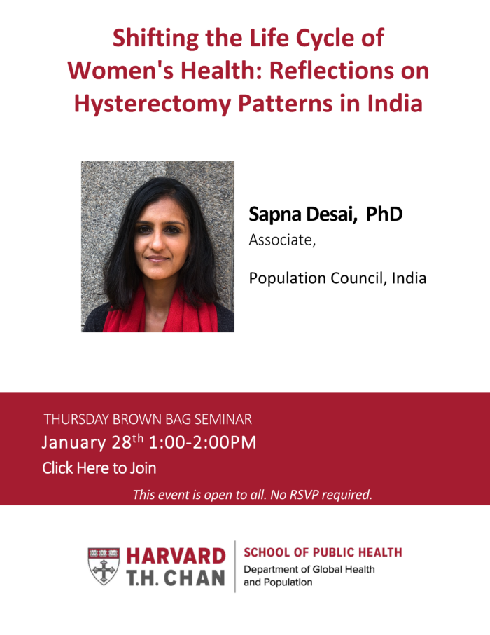 Flyer for Sapna Desai's seminar on 1.20.21 at 1PM
