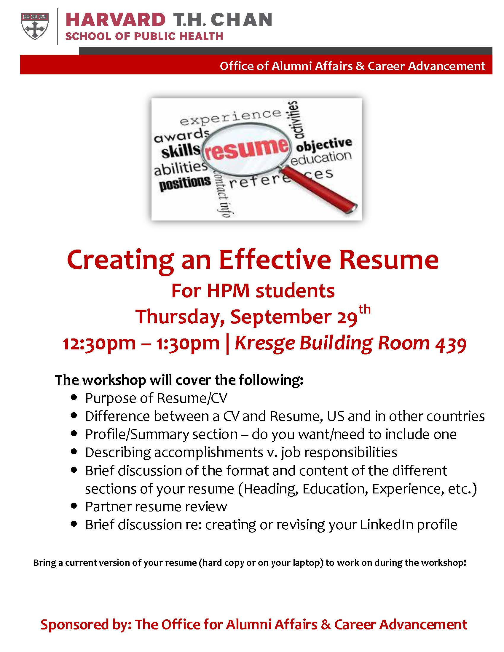 Creating An Effective Resume Hpm Final Flyer 2 Department Of