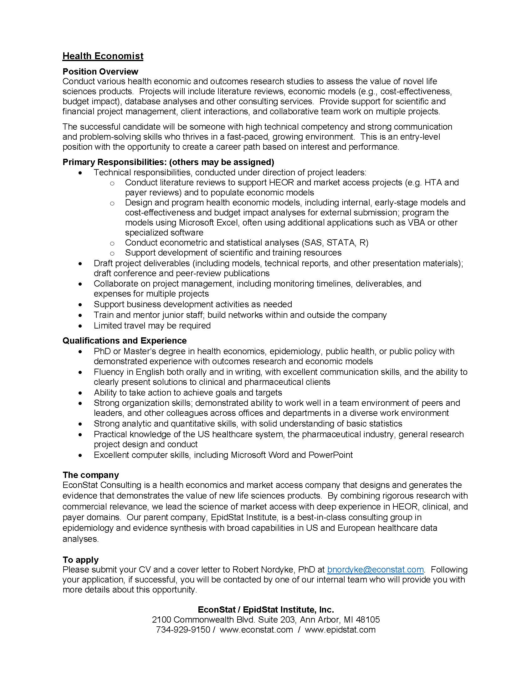 Hpm student announcements career opportunities department of epidemiologist needed at epidstat institute 1betcityfo Choice Image