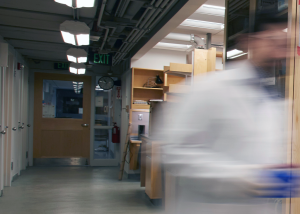 decorative - photo of a lab corridor with a blurred figure walking out if it